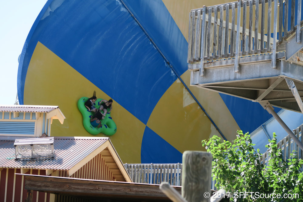 Guests are dropped into a large funnel to finish out the ride.