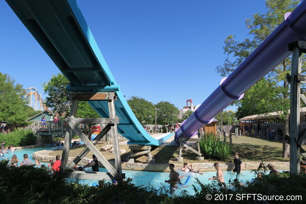Typhoon twister shares a slide tower with Paradise Plunge.