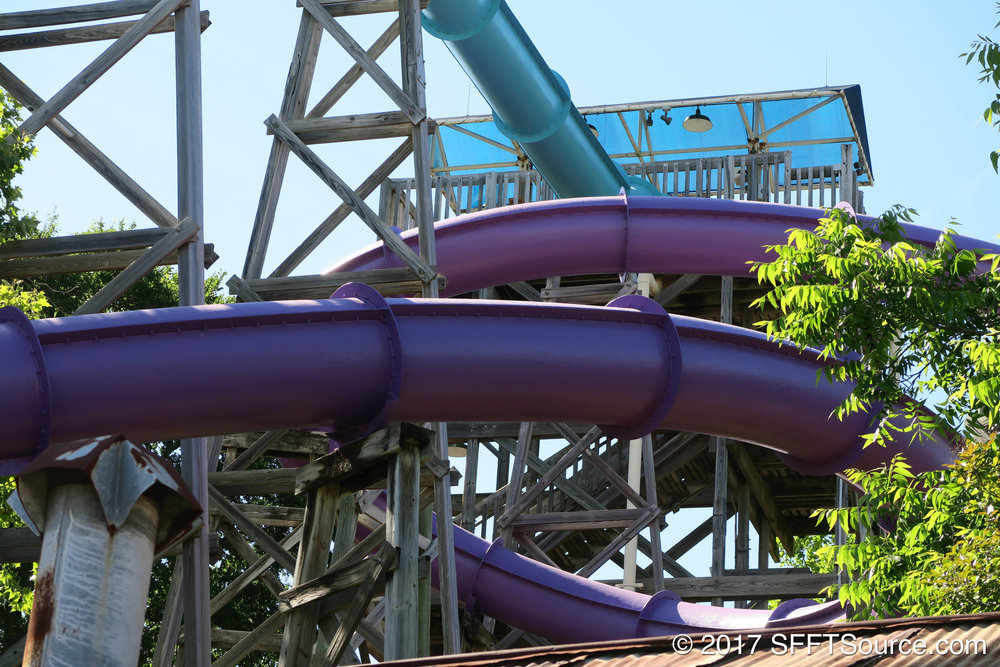 Typhoon Twister features a winding slide layout.