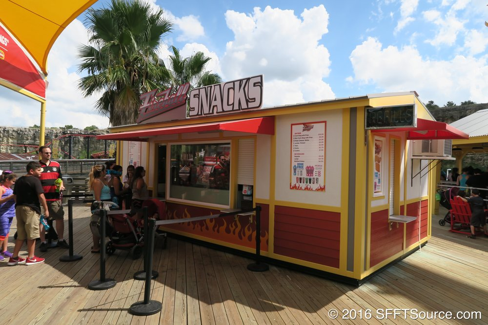 Fireball Snacks is an outdoor food stand.