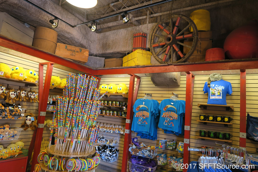 The shop features a lot of Looney Tunes-related souvenirs.