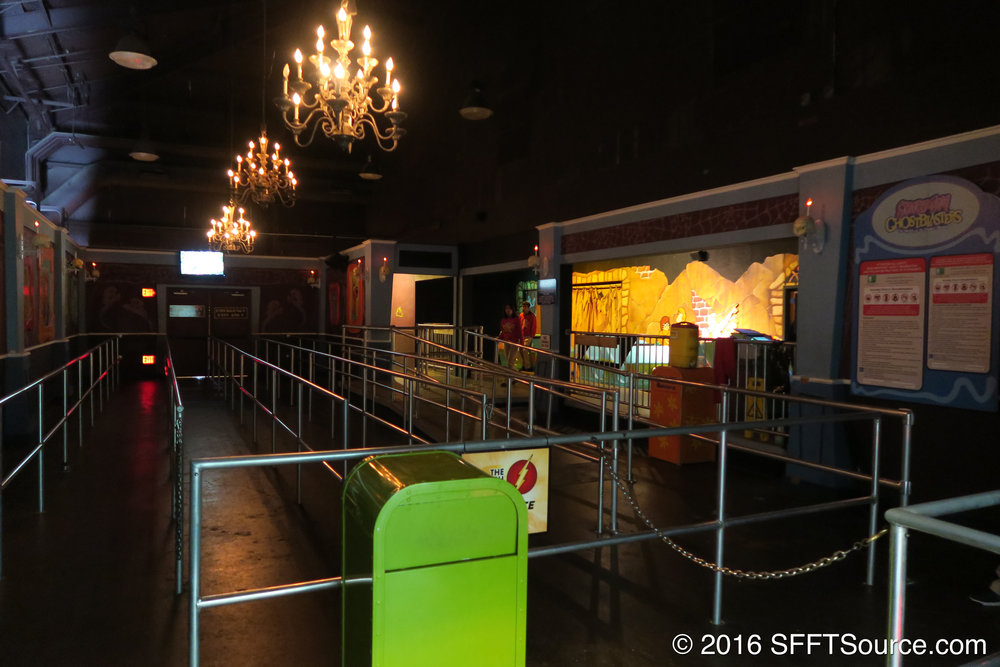 The indoor queue and loading dock for the ride.