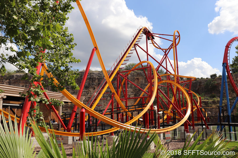 A look at Wonder Woman's lift hill and first drop.