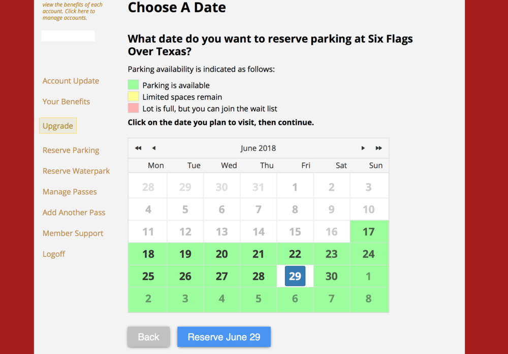 """Next up, you will be taken to a calendar. As you can see in our screen shot all remaining dates in June are fully available. The boxes will be yellow if there is limited availability and red if there is no availability. Pick your desired date and click """"Reserve."""""""