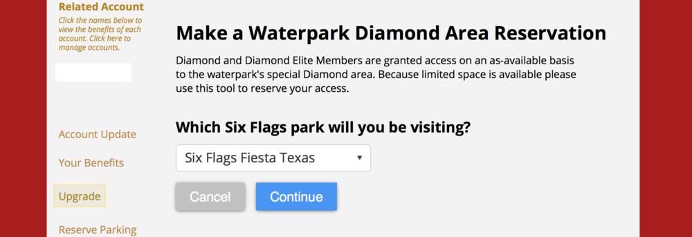 """Next you will pick the park you'd like to reserve at. In this case we are picking Fiesta Texas. Click """"Continue."""""""