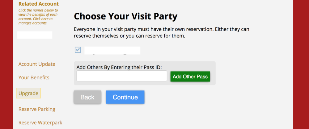"""The next page confirms your name and also allows you to add other pass holders. Please note that your friends have to have their own reservation to enter the area. However, Six Flags is allowing you to make the reservation for them on this page. Fill out the information and hit """"Continue."""""""