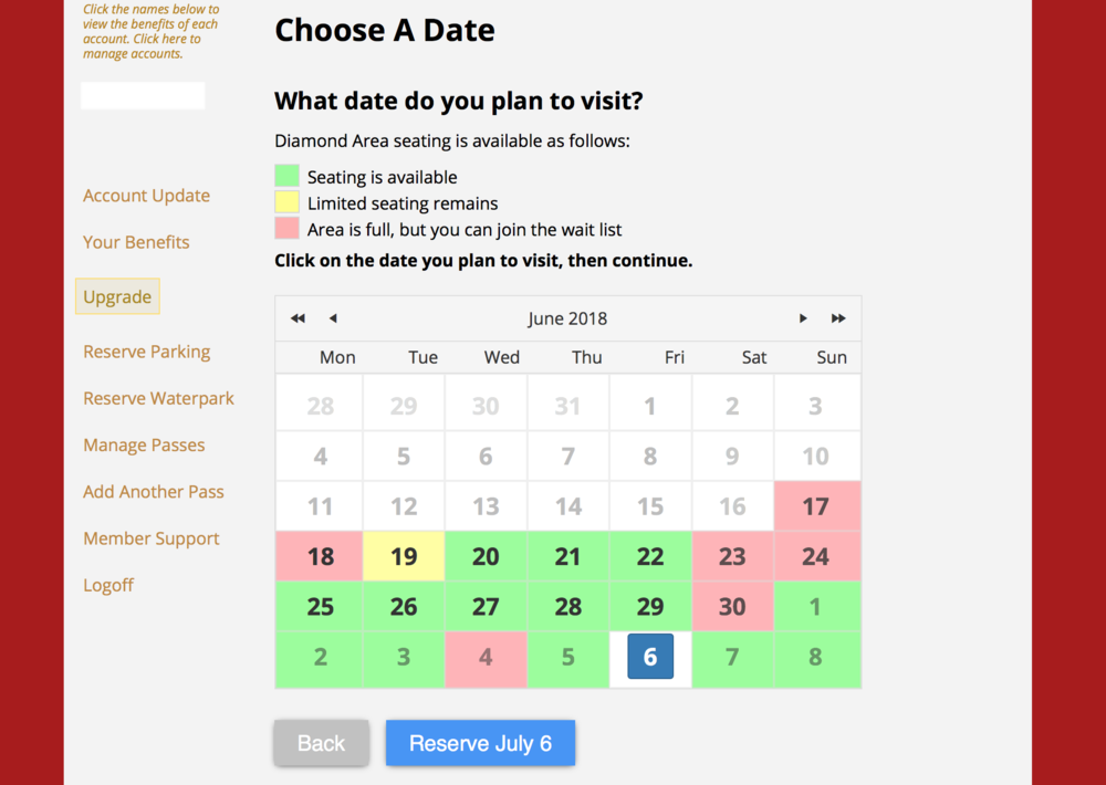 """The next page will have you confirm a date. As you can see the water park access fills up very quickly so you will need to plan way ahead of time to get the date you'd like. Pick your date and hit """"Reserve."""""""