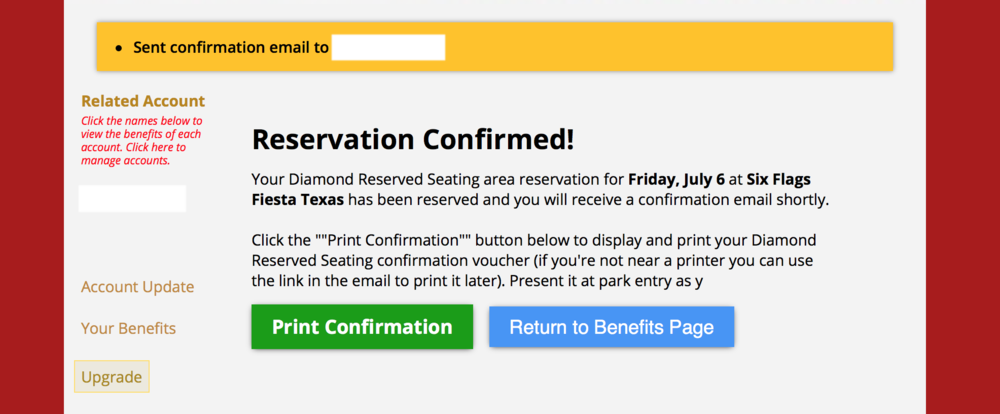 """The final page will confirm your reservation. Click """"Print Confirmation"""" and print out the voucher. Take the voucher to the park and present it to the entrance of the water park diamond area access."""