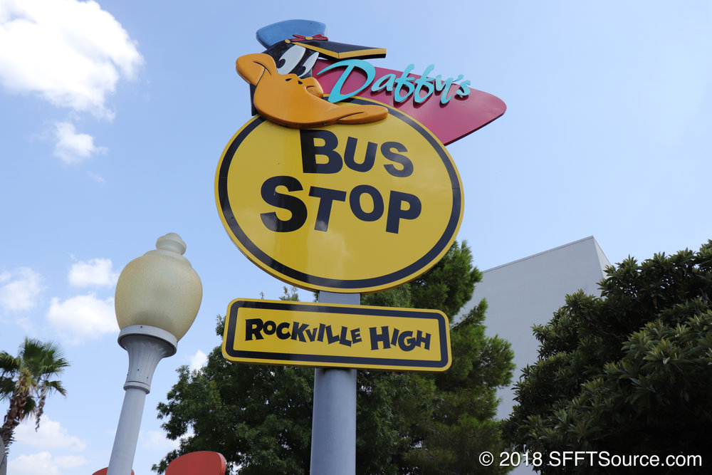 Daffy's School Bus Express entrance sign.