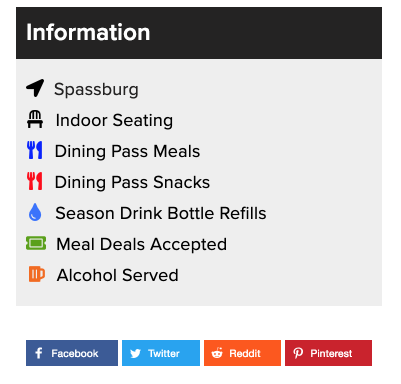 """""""Information"""" tabs are accurately displayed for each food location."""