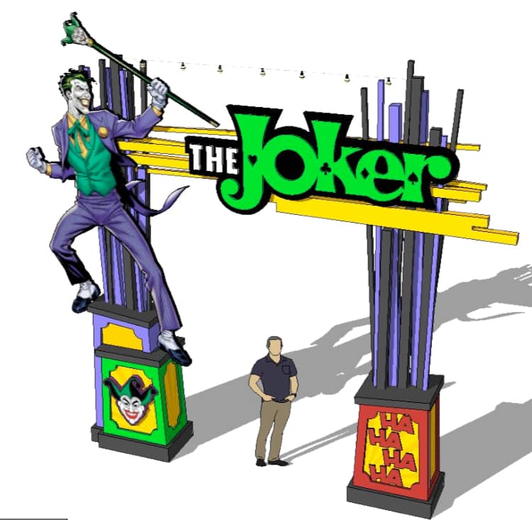Artwork showing off The Joker's main entrance.