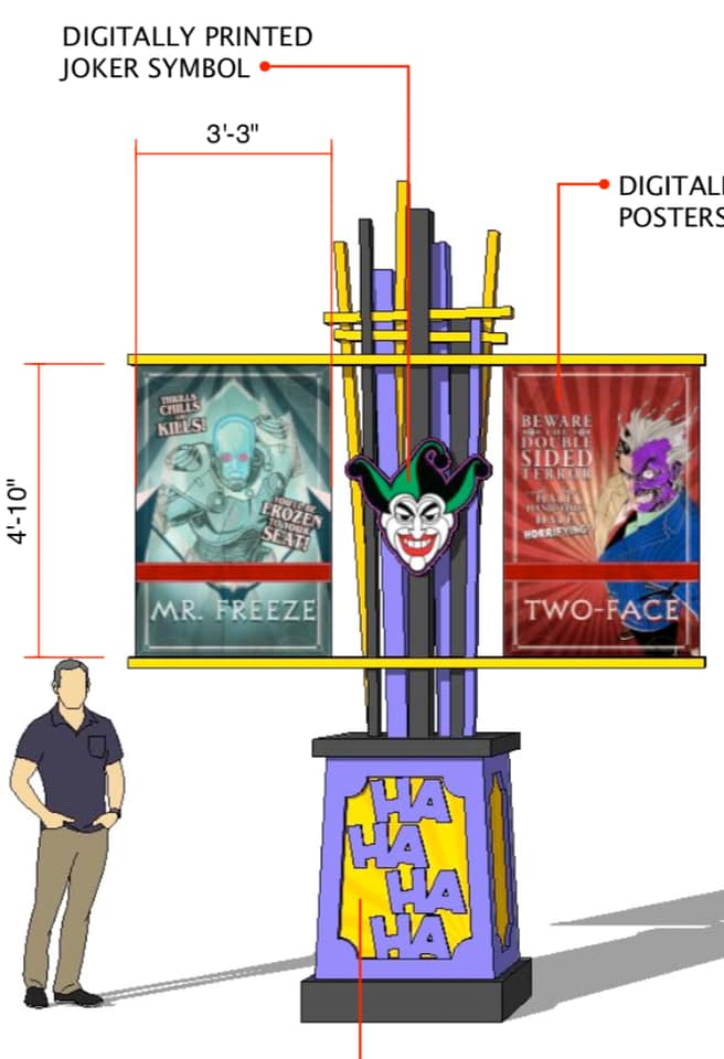 Displays throughout The Joker's queue will feature posters of other DC Comics villains.