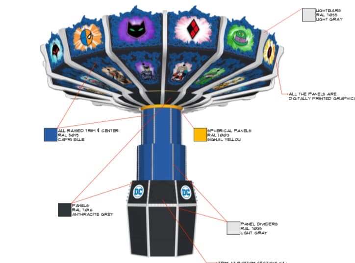 Concept art for the all-new DC Super-Villain Swing. Credit: Fiesta Texas (Click to Enlarge)