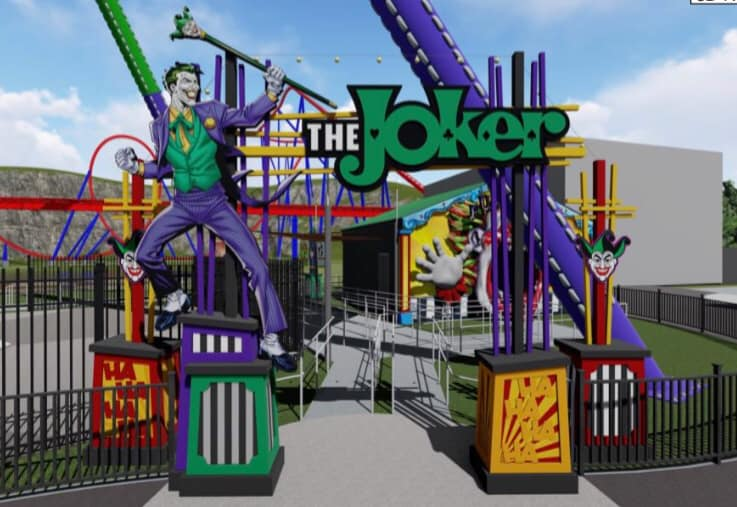 The main entrance to The Joker Carnival of Chaos. The indoor fun house queue concept can be seen in the background. Credit: Fiesta Texas (Click to Enlarge)