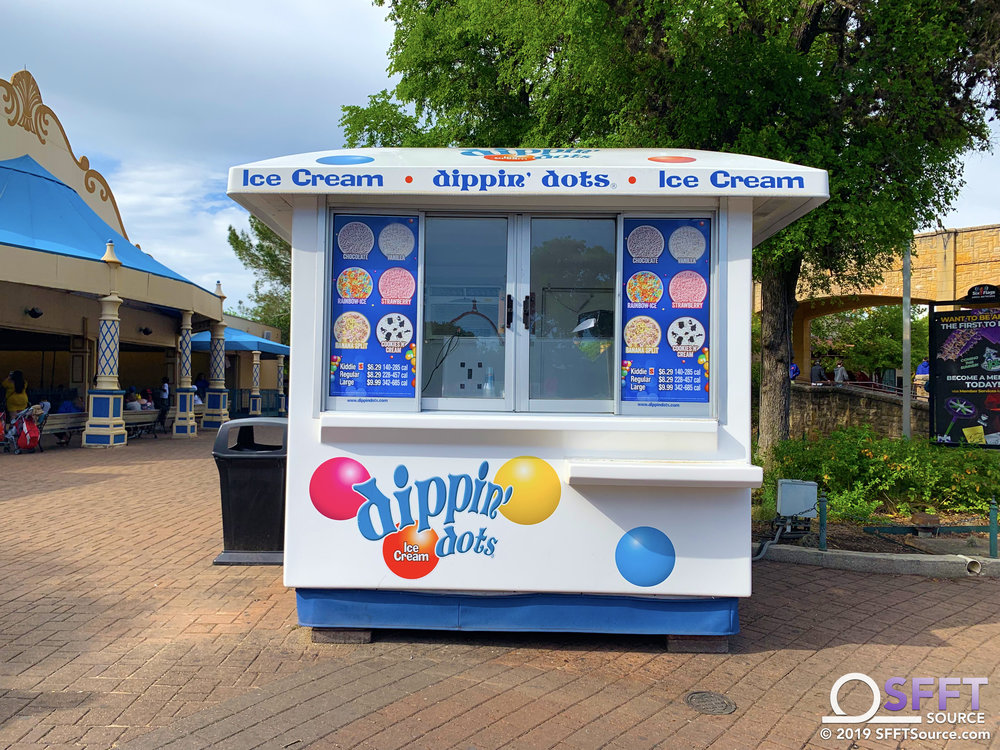 This outdoor food location features a number of Dippin' Dots ice cream options.