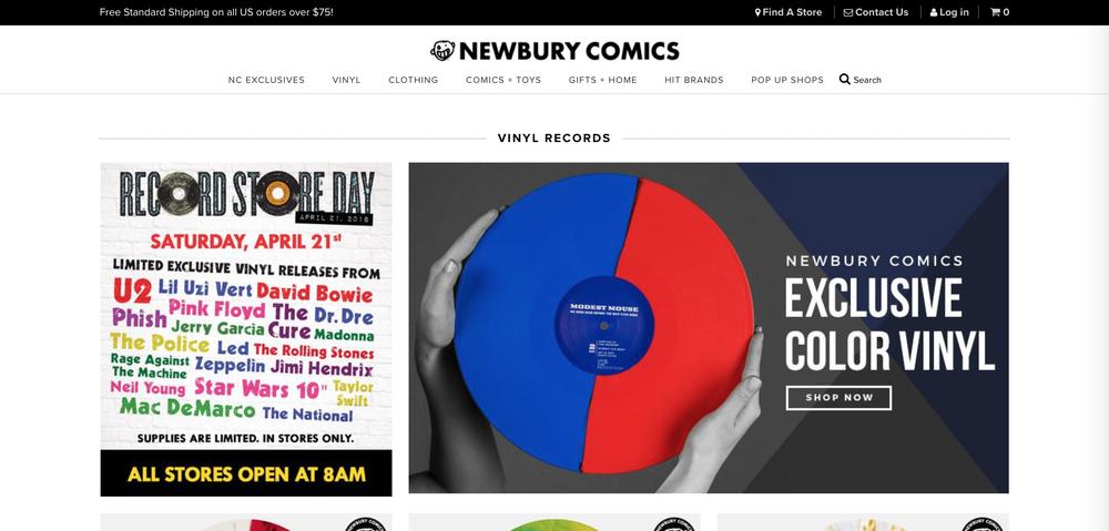 Newbury Comics'home page.