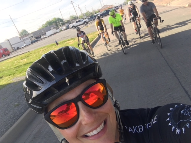 "Club member Abby taking part in our May Challenge - ""Ride with a friend and take a pic"" during our Tuesday group ride"