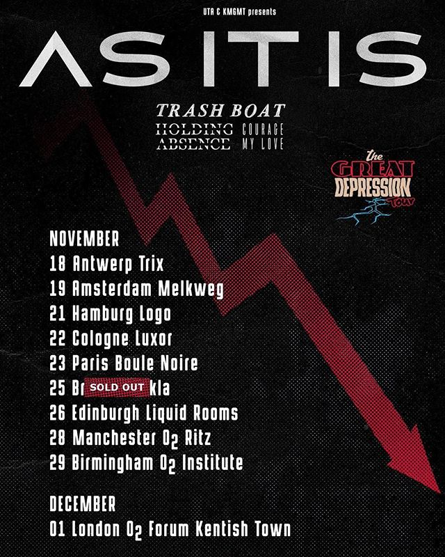 NEXT UP... UK/EU with @asitisofficial, @holdingabsence and @couragemylove! Bristol has already sold out and the others aren't far behind!