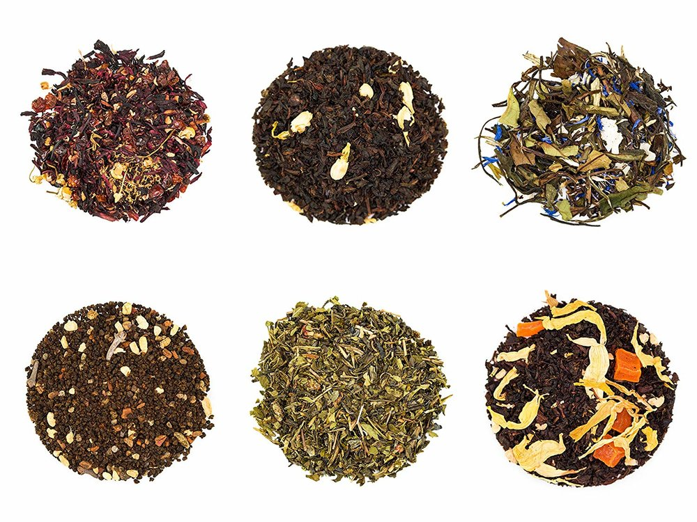 maya tea sampler - 6 Flavors: Prickly Pear Herbal, Madagascar Coconut White, Large Leaf Masala Chai, Pomegranate Mojito Green, Ginger Peach Black, Crème Brulee Black