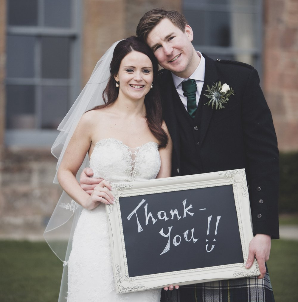 "Rachel & James - Fasque Castle    ""Hi Rebecca, We are so sorry this is so late but we wanted to say a massive thank you for everything you did for us on our wedding day. The day was perfect and everything went to plan (as far as we are aware...and if there was anything that didn't, we don't care). Everyone has said what a great day it was and how relaxed everything was which is exactly what we wanted. it couldn't have been better. I especially want to say thank you for arranging a shirt for Dan [best man]. That went over and above what we expected. It was great to meet you! Thanks again. Rachel & James"""