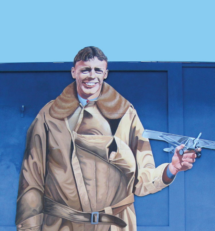 Lucky/Spirit Lindbergh Mural — 2016   Corner of Ninth and Main Streets Artists: John and Jeanne Whalen