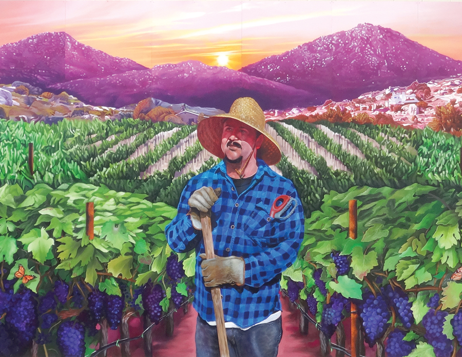 Tending the Vineyard — 2017   La Cocina •681 Main Street Artists: Miguel Angel Godoy and Saratoga Sake