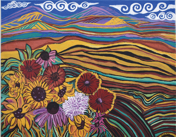 ' Surprising Color Sun Burst' by artist Linda Kelly may be found at Ramona Library as part of its permanent collection of art.