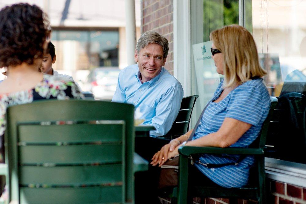 Tom Malinowski at Coffee Shop with NJ-7 Residents