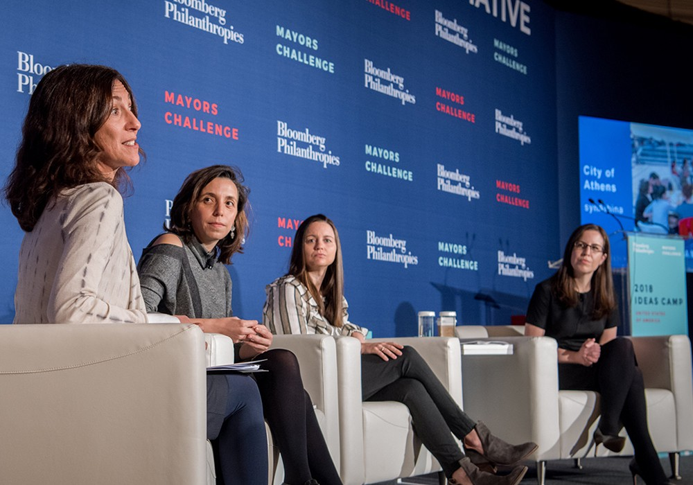 Carolina Avila Morales (second from left), from the City of Bogotá, during a panel discussion at the Ideas Camp organized by Bloomberg Philanthropies in March 2018.