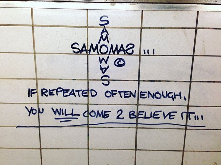 "An Al Diaz ""SAMO Cross"" Tag in the NYC Subway."