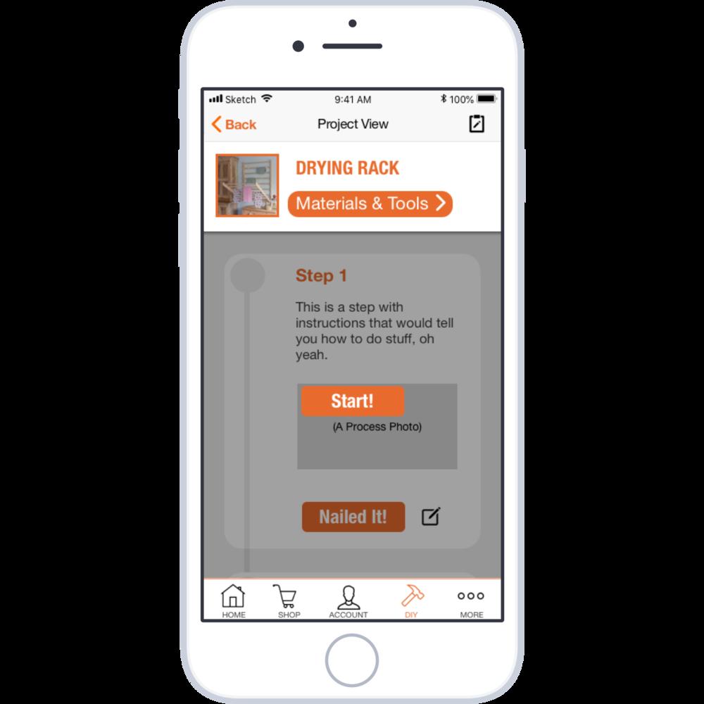 Home Depot feature design - DIY feature design project for Home Depot's appFull Process, Teamwork