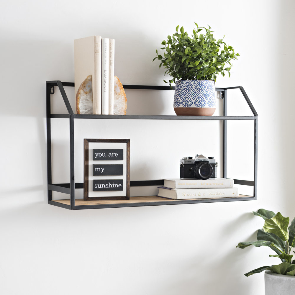 Kirkland's - Wood and Metal Double Shelf Unit
