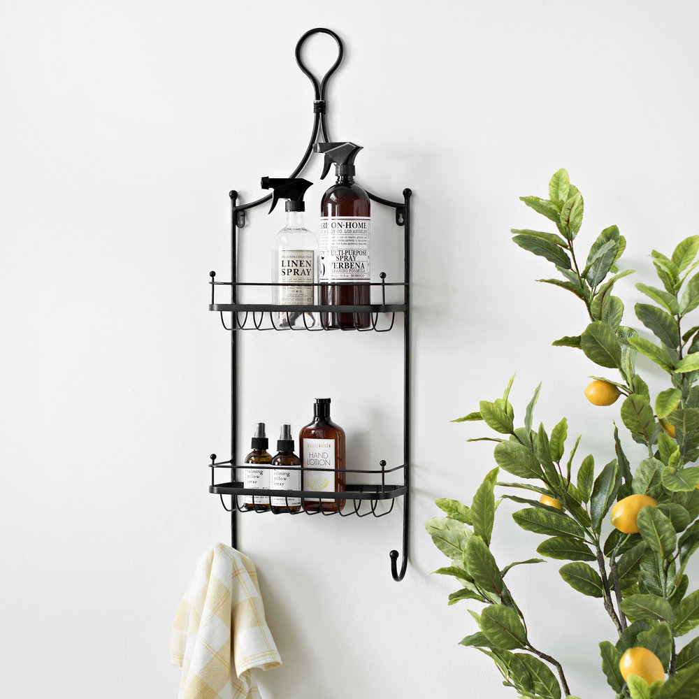 Kirkland's - Double Basket Wall Shelf with Hooks
