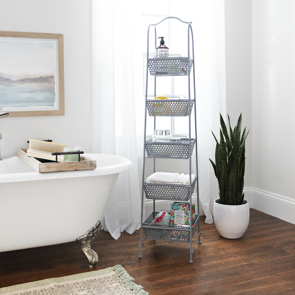 Kirkland's - Gray Metal Baskets Tower Storage Shelf