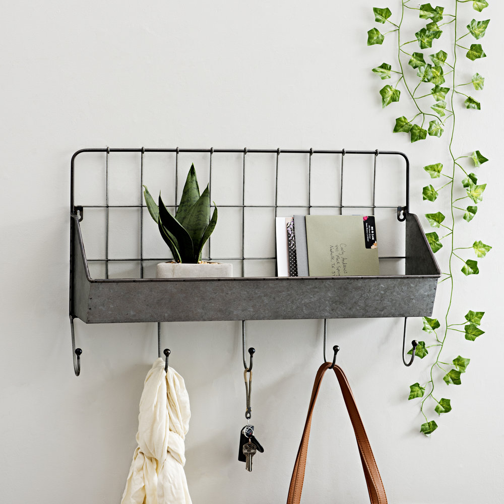 Kirkland's - Galvanized Metal Pocket Shelf with Hooks