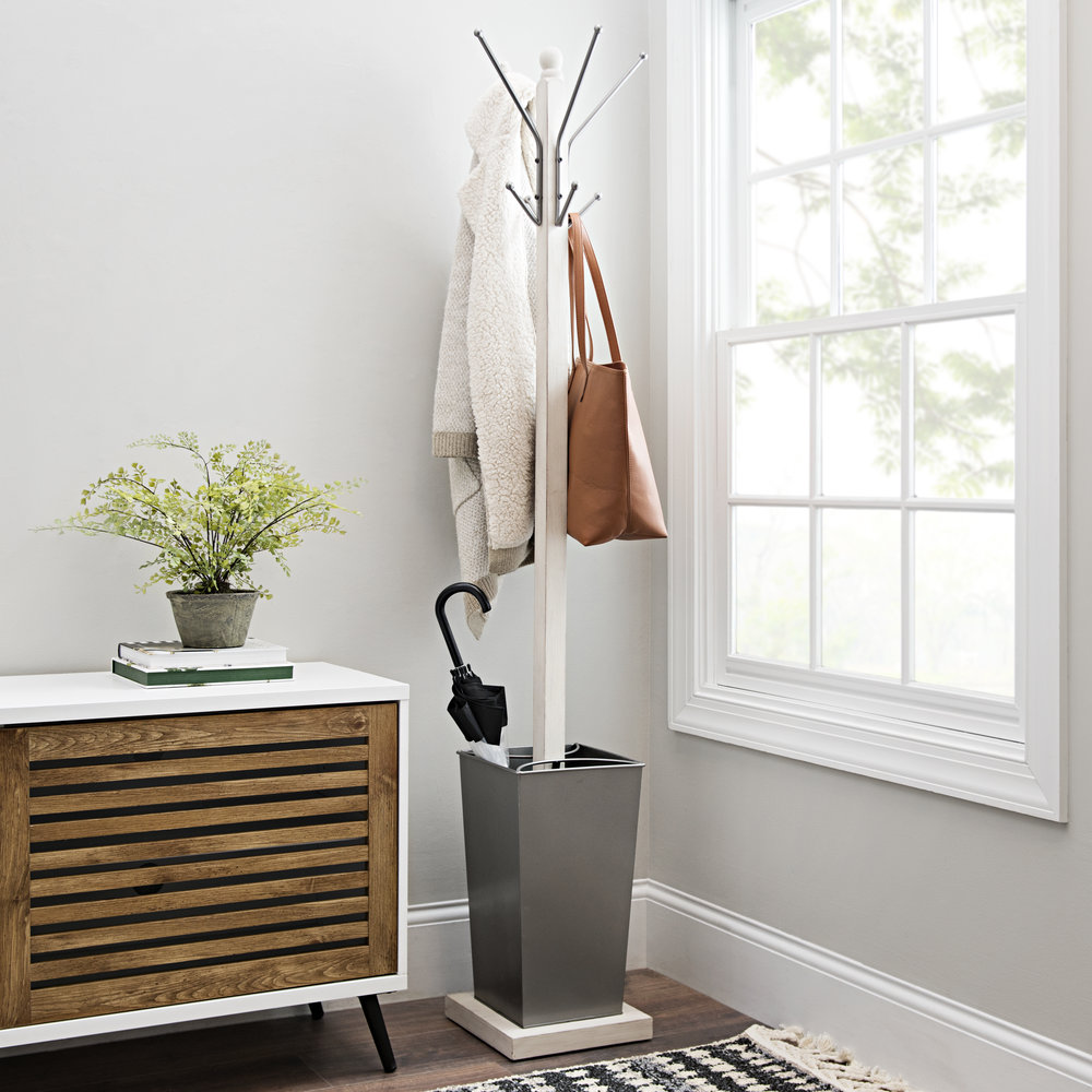 Kirkland's - Cream Wood and Dark Gray Metal Coat Rack