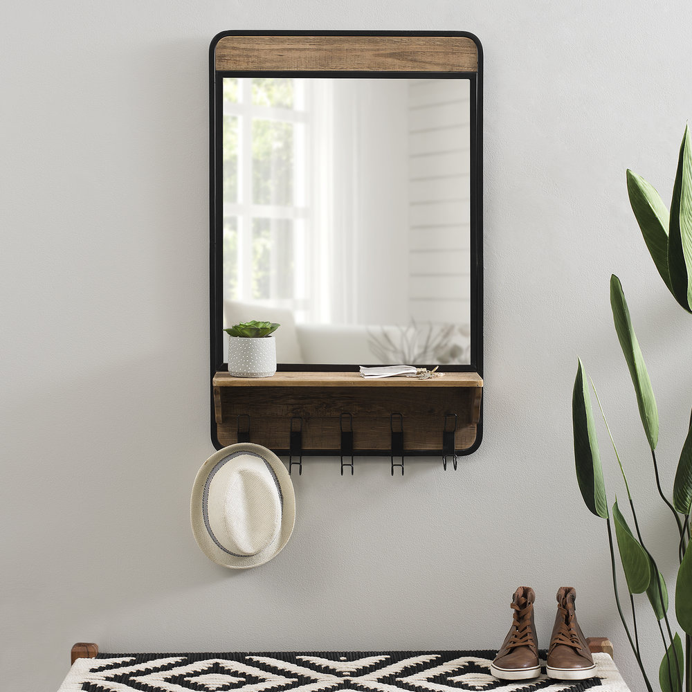 Kirkland's - Industrial Wooden Wall Mirror with Shelf and Hooks