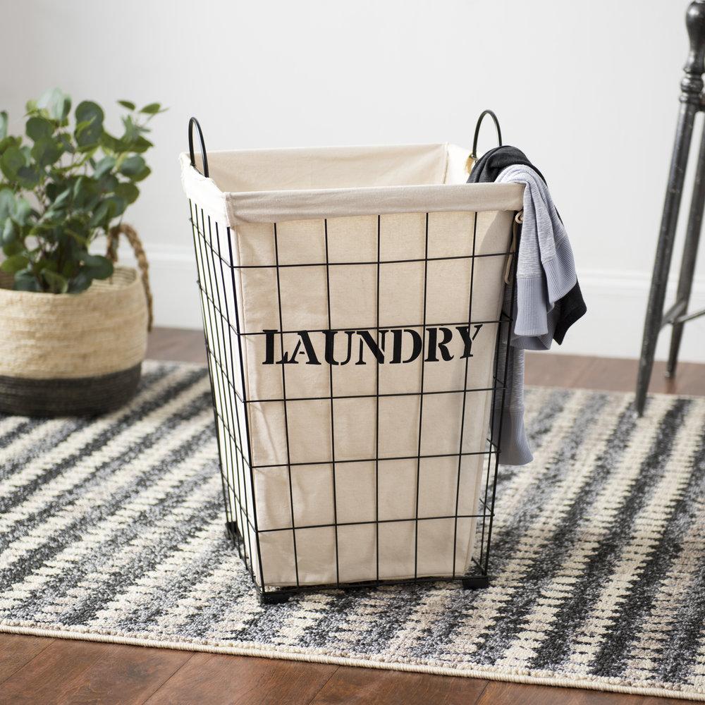 Kirkland's - Metal and Fabric Retro Laundry Bin