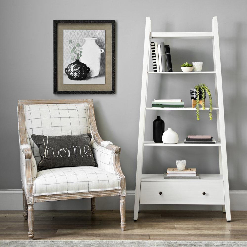 Kirkland's - White Wood Media Shelf with Drawer