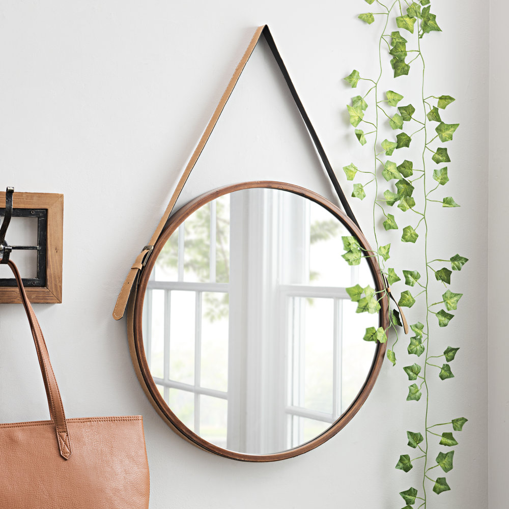 Kirkland's - Round Metal and Leather Hanging Mirror