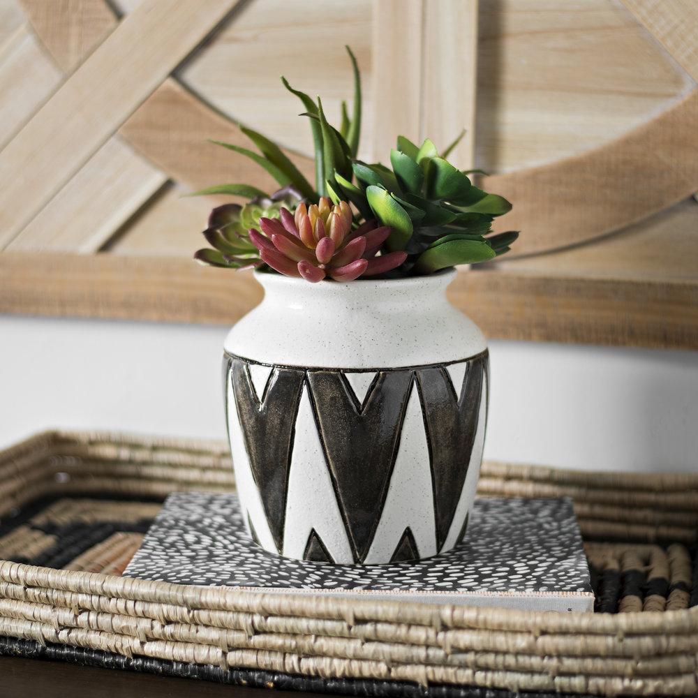 Kirkland's - Black Zig Zag Ceramic Vase