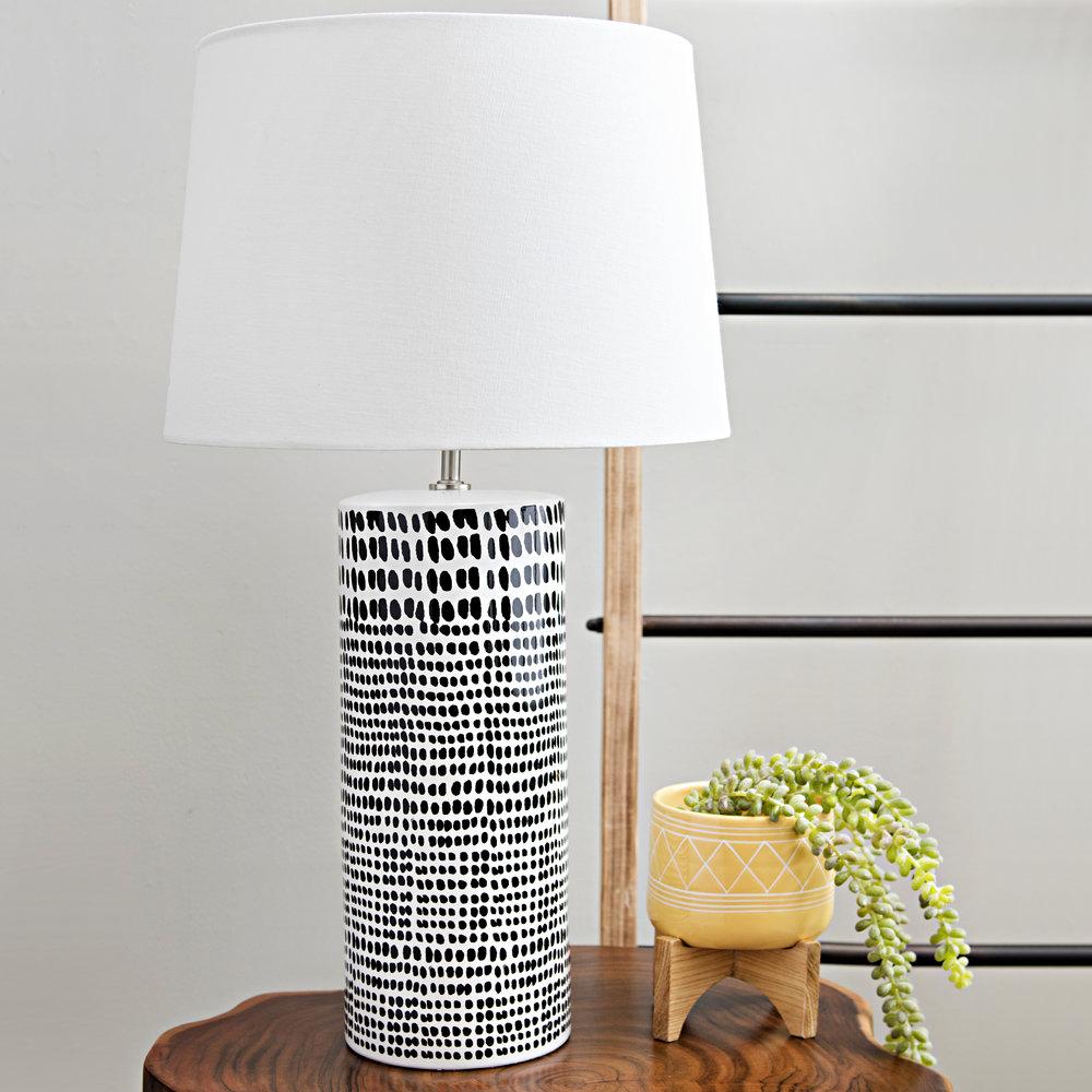 Kirkland's - Black Dot White Ceramic Table Lamp