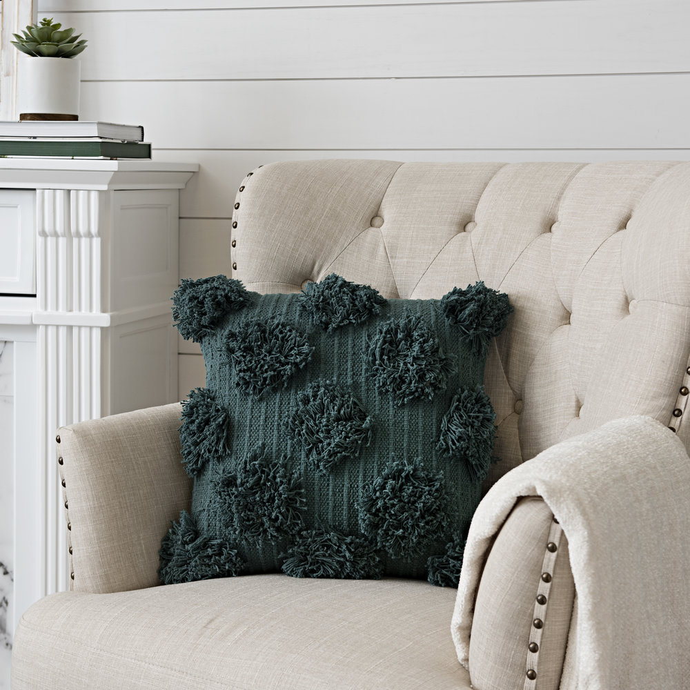 Kirkland's - Mallard Green Shaggy Dot Pillow