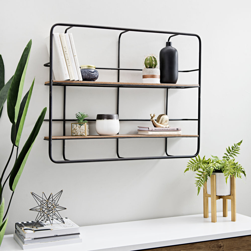 Kirkland's - Wood Double Wall Shelves on Metal Back Grid