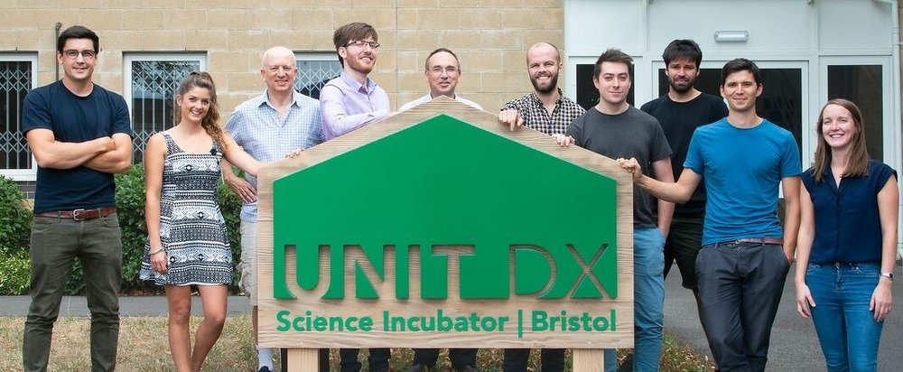 CEO Dr Harry Destecroix (left) and the Ziylo team at Unit DX, Bristol.