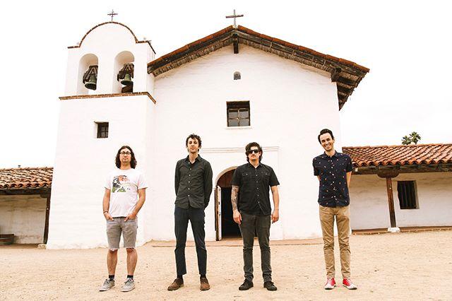 Obligatory Presidio photo in Santa Barbara 🌵⛪️. Hold still boys, we're takin' a photo! #reallycoolbands #santabarbara  #rockmusic #presidio