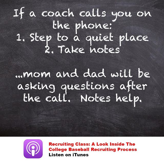 "The first question mom and dad will ask when you hang up is, ""Well, what did he say?"" You better answer more than, ""not much."" . . . #collegerecruiting #recruitingtips #baseball #baseballrecruiting #collegebaseball #perfectgame #collegeathlete #highschoolbaseball"