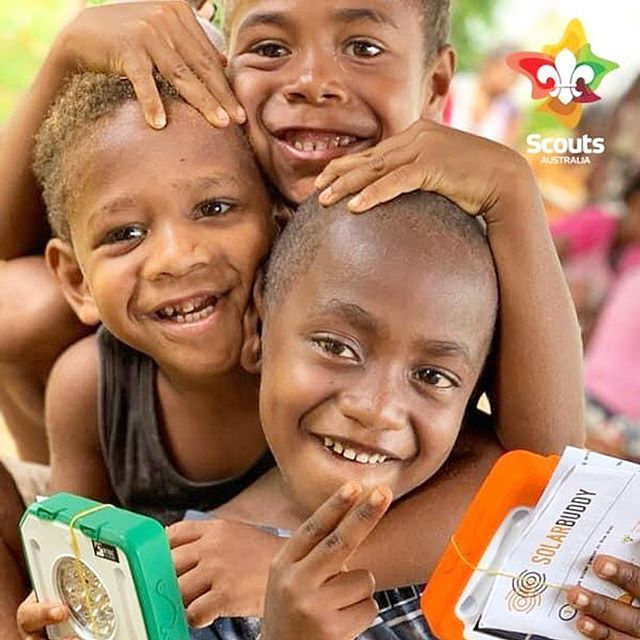 The smiles say it all! Thank you to @scouts.australia for your amazing donation of SolarBuddy lights to children in Vanuatu. An incredible journey of fundraising, building and donating at this year's @australian.jamboree! #partnership #scouts #worldscouting @worldscouting