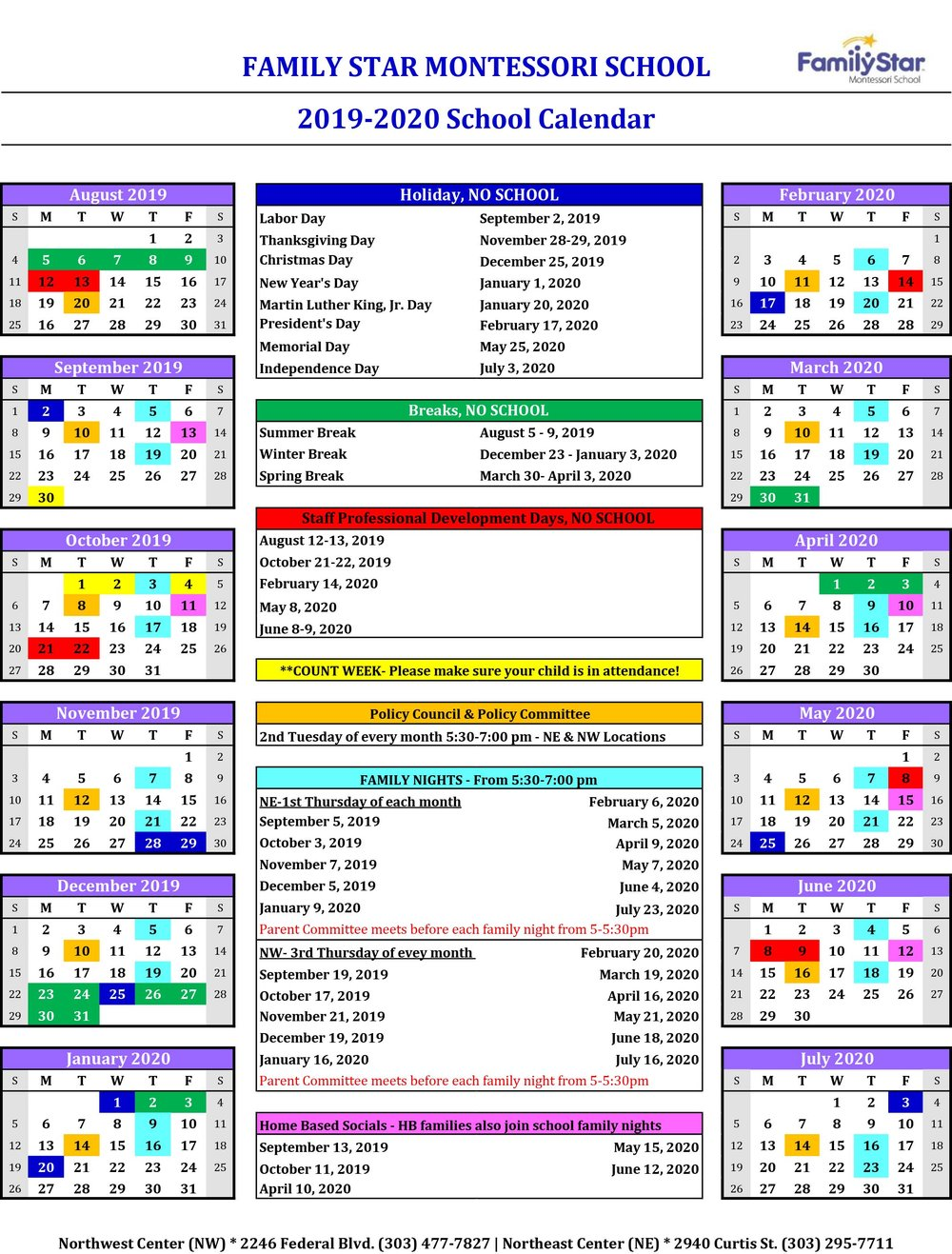 2020 Calendar Please School Calendar for 2019 2020 Now Available! — Family Star