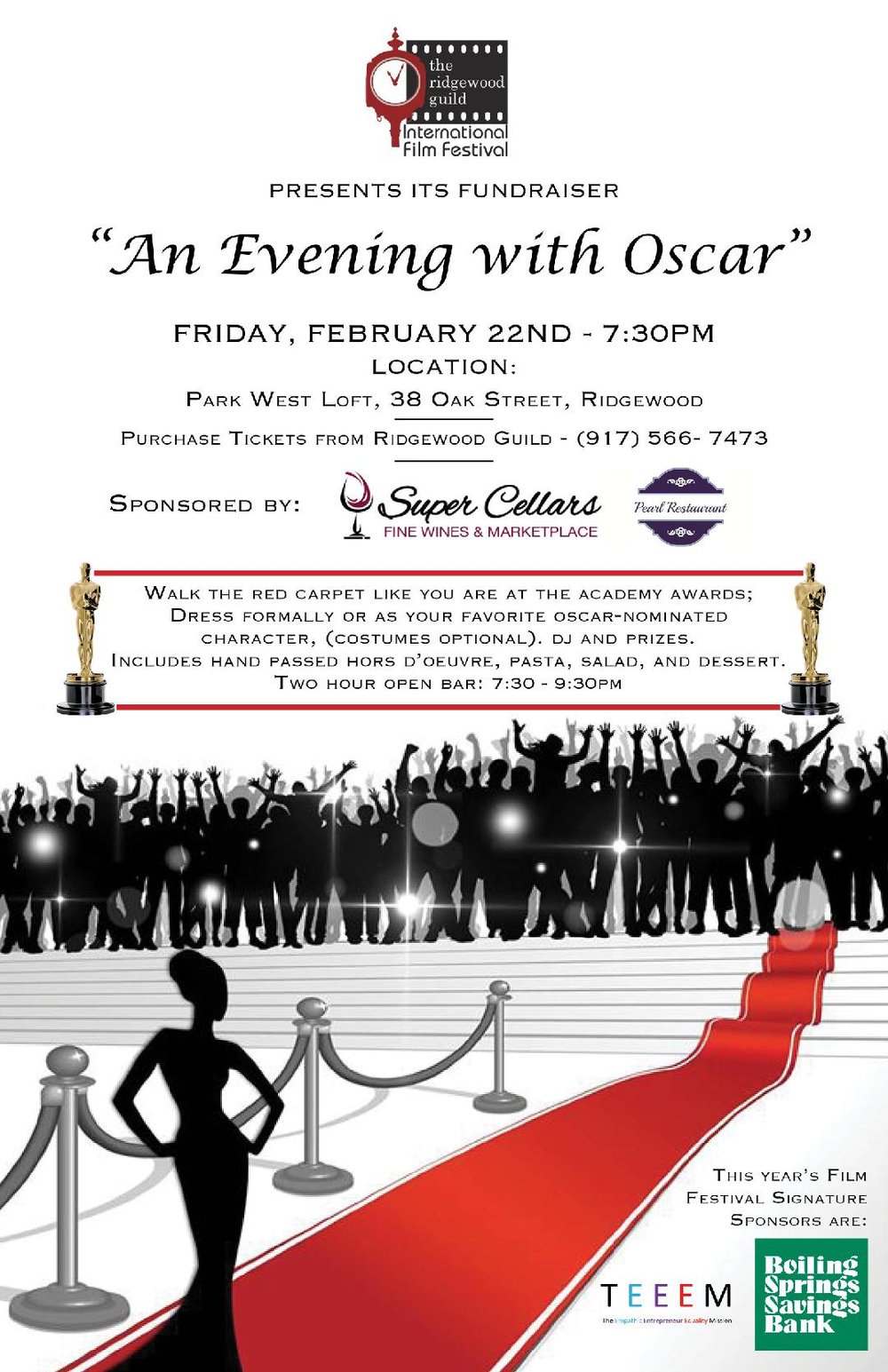 """An Evening with Oscar"" - Friday, February 22nd at 7:30 p.m.Park West Loft, 38 Oak Street, Ridgewood, NJ"